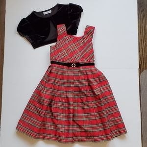 Jona Michelle Red Plaid Holiday Dress Size 5